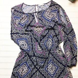 Renee C Long Sleeve Elastic Waist Urban Mini Dress
